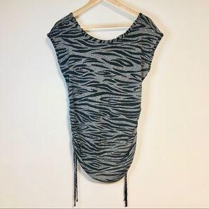 H&M Mama Ruched Zebra Print Maternity Top